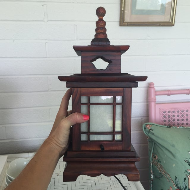 Antique Carved Wood Asian Chinoiserie Pagoda Lantern Light Lamp For Sale - Image 10 of 11