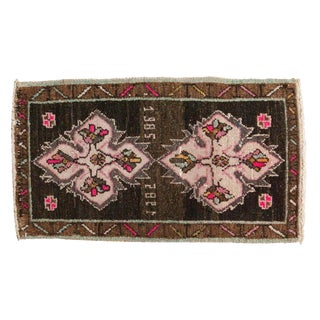 "Vintage Distressed Oushak Rug Mat - 1'5"" X 2'7"" For Sale"
