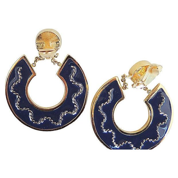 Valentino 1980s Valentino Rivoli Blue Enamel Earrings For Sale - Image 4 of 7