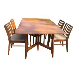 1960s Solid Wood Gate Leg Drop Leaf Dining Room Table Set For Sale