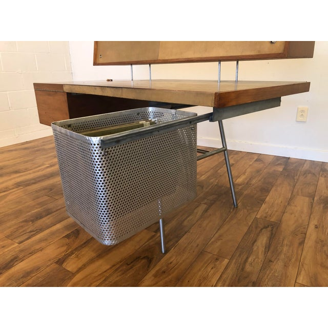 Brown George Nelson for Herman Miller Walnut, Steel and Leather Mid Century Desk For Sale - Image 8 of 12