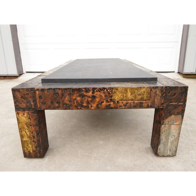 Copper Mid 20th Century Paul Evans Mixed Metal Patchwork Slate Top Coffee Table For Sale - Image 8 of 13