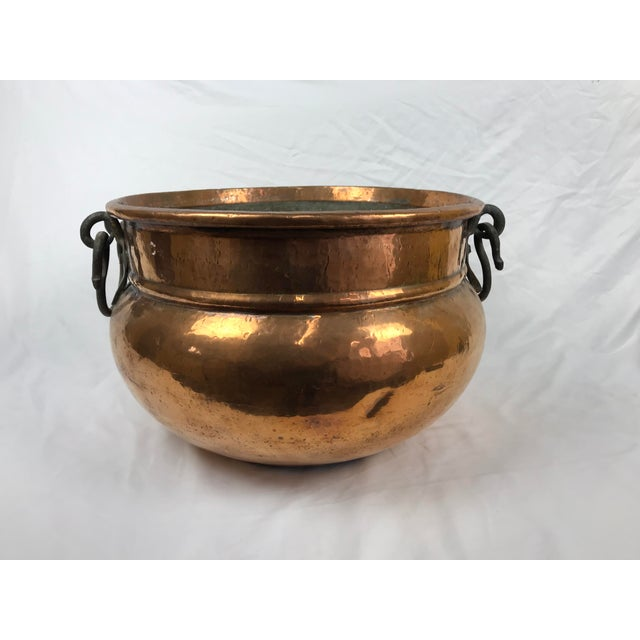 20th Century Traditional Hammered Copper Kettle Cauldron For Sale - Image 9 of 9