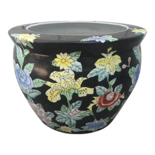 Vintage Chinese Porcelain Fish Bowl Jardiniere Planter For Sale