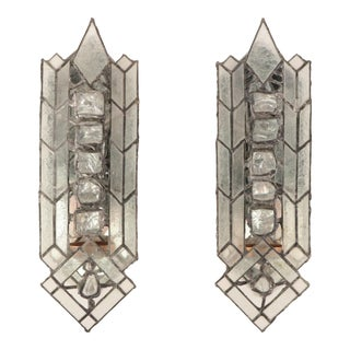 Richard MacDonald Ice Crystal Stained Glass Candle Sconces - a Pair For Sale