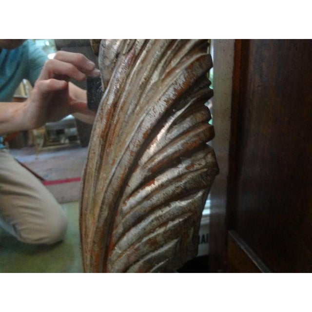 Silver Vintage Serge Roche Inspired Carved Wood Silver Gilt Palm Frond Mirror For Sale - Image 8 of 12
