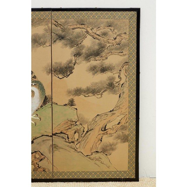 Japanese Four Panel Screen of Hawks in Pine Tree For Sale In San Francisco - Image 6 of 13