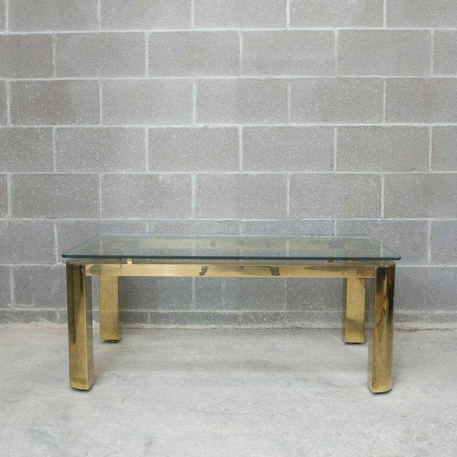 Pace Mid-Century Modern Brass and Floating Glass Cocktail Table - Image 2 of 6