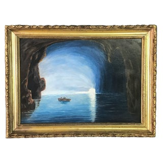 "19th Century ""Blue Girotto, Capri Italy"" Oil Painting, Framed For Sale"