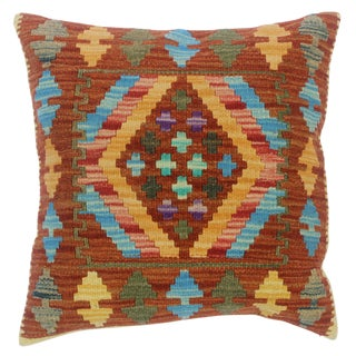 """Clementi Rust/Lt. Blue Hand-Woven Kilim Throw Pillow(18""""x18"""") For Sale"""