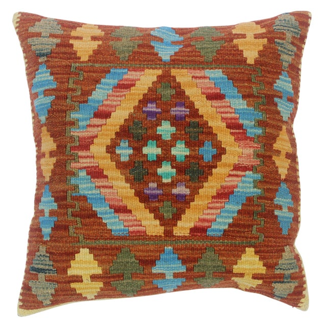 "Clementi Rust/Lt. Blue Hand-Woven Kilim Throw Pillow(18""x18"") For Sale"