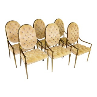 Set of 6 Mastercraft Antiqued Brass Tufted Velvet Dining Armchairs 1960s For Sale