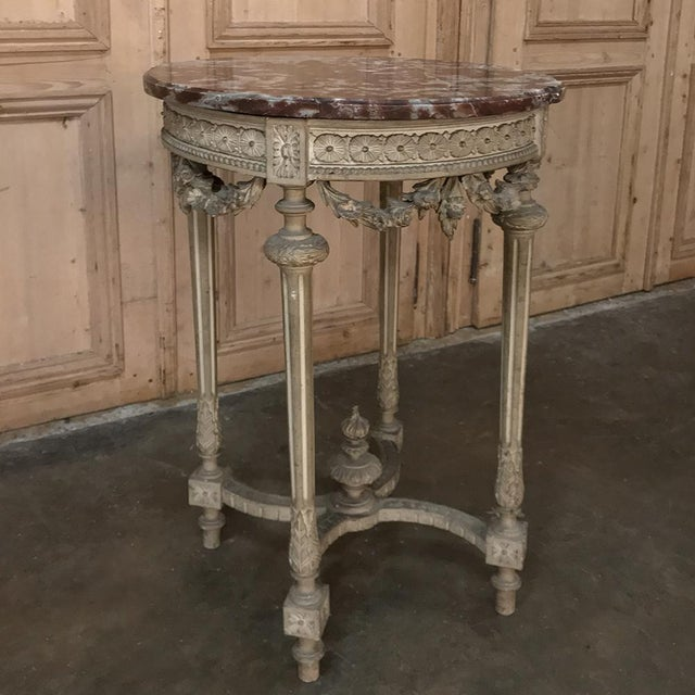 19th Century French Louis XVI Painted Marble Top Lamp Table ~ Gueridon For Sale - Image 12 of 12