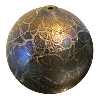 Hand Blown Iridescent Crackle Glass Orb Bud Vase For Sale
