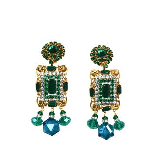 Larry Vrba Emerald Glass Earrings For Sale