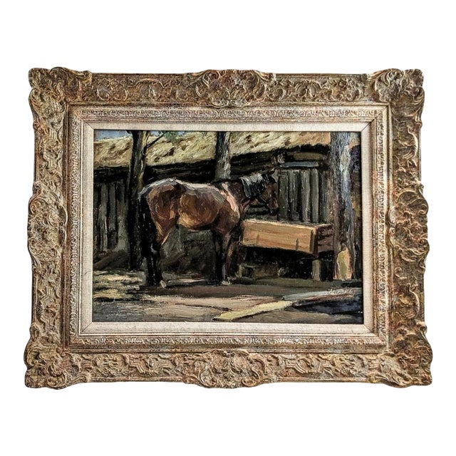 """1940s """"Horse Feeding"""" Oil Painting on Board After Sir Alfred Munnings, British For Sale"""