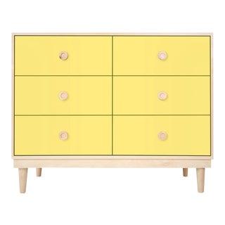 Nico & Yeye Luke Modern Kids 6-Drawer Dresser Solid Maple and Maple Veneers Yellow For Sale