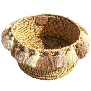 Moroccan Cuppuccino Tassel Small Basket For Sale