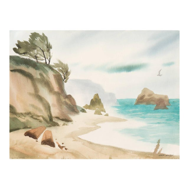 'Hidden Cove, Big Sur' by Nat Levy, Society of Western Artists, Mid-Century California Watercolor For Sale