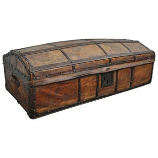 Early 20th Century Antique Spanish Parchment and Forged Iron Trunk For Sale