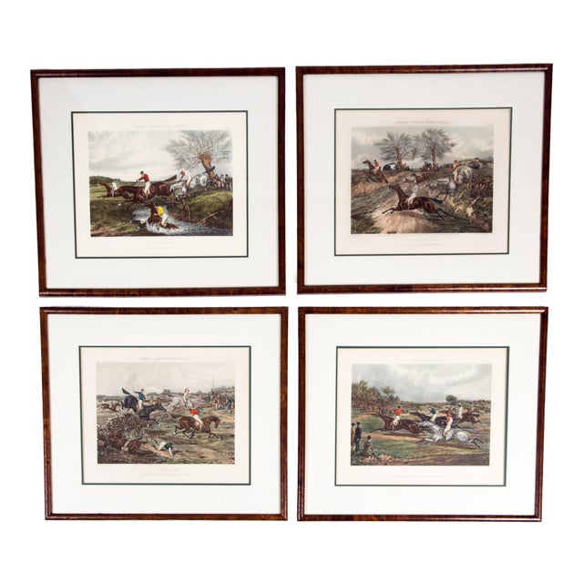 Antique Hand Colored Forest's Steeple Chase Scenes Lithographs - Set of 4 For Sale