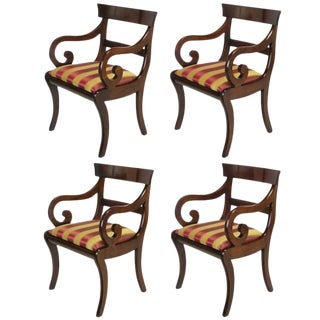 Four Mahogany Regency Scrolled Arm Dining Chairs For Sale