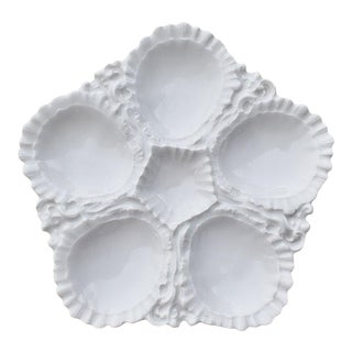Early 1900s White Porcelain Oyster Plate or Platter With 5 Wells, France For Sale