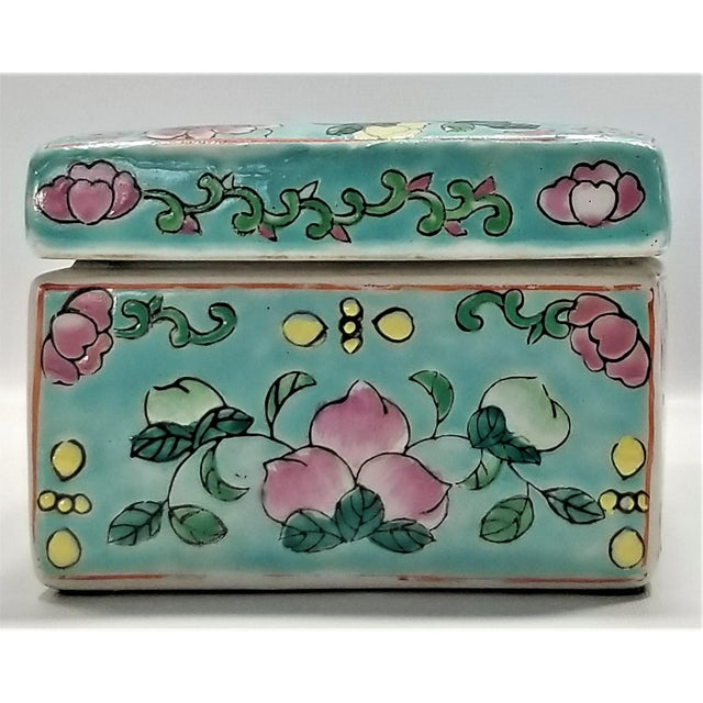 Vintage Light Blue Chinese Famille Rose Porcelain Box With Flowers and Phoenix - Asian Oriental Palm Beach Boho Chic Mid Century For Sale In Miami - Image 6 of 12