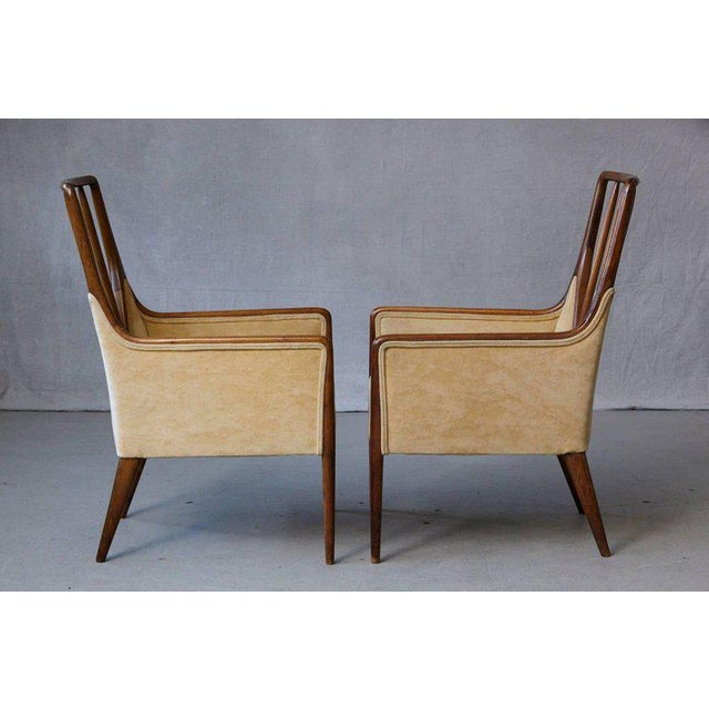 Gold Pair of Mid-Century High Back Walnut Lounge Chairs For Sale - Image 8 of 10