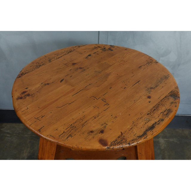Gold English Round Pine Table For Sale - Image 8 of 10