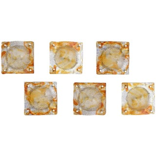 Collection of Six Italian Murano Mazzega Glass Sconces For Sale