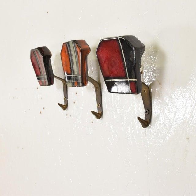 Metal Mid-Century Modern Ceramic & Brass Decorative Coat Hat Racks Hooks - Set of 3 For Sale - Image 7 of 10