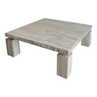 1980s Travertine Pedestal Coffee Table For Sale