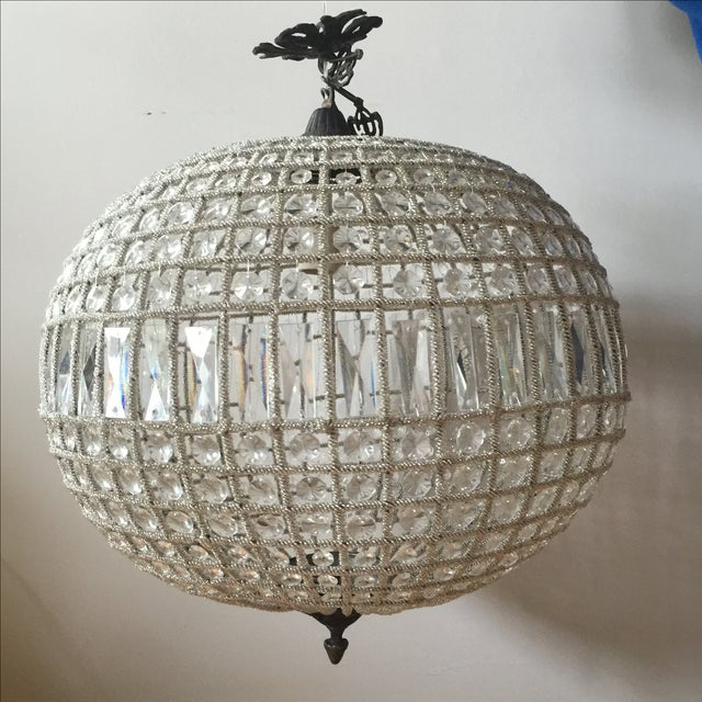 """Stunning when lit, spherical chandelier with one bulb. Chain is 12"""" long. Needs to be rewired."""