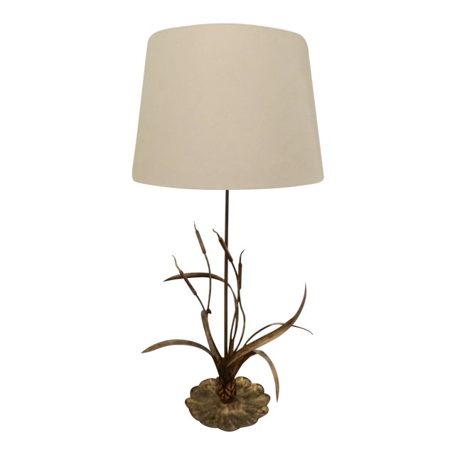 Gilt Cattail Reed Sculptural Table Lamp For Sale