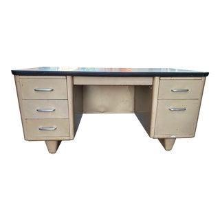 Vintage Allsteel Brand Metal Tanker Desk For Sale