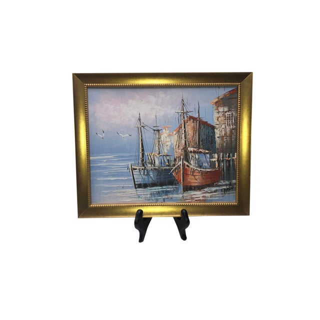 French French Boats in Harbor Painting For Sale - Image 3 of 7