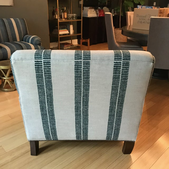 Traditional English Clay Mclaurin Fabric Upholstered Roll Arm Club Chair For Sale - Image 3 of 4
