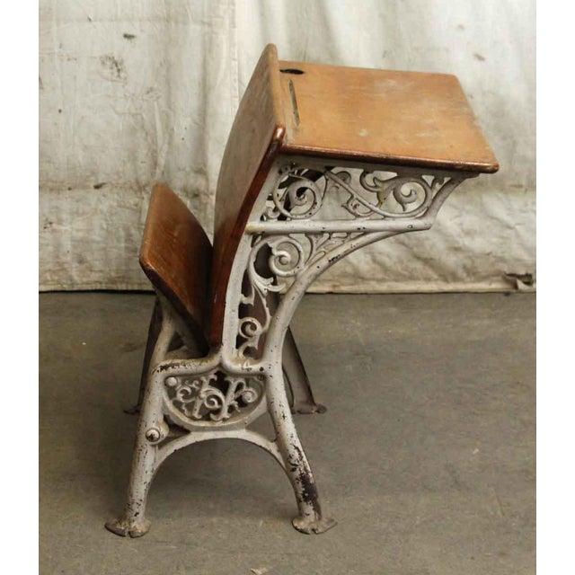 Vintage Folding School Row Desk For Sale - Image 4 of 6