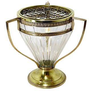 Antique French Bronze & Cut Crystal Flower Vase