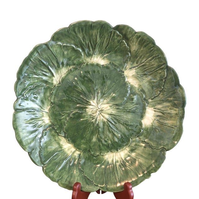1900s Italian Cabbage Leaf Plates - a Pair - Image 1 of 8