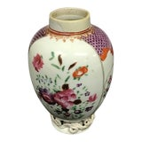 Image of Vintage Porcelain Tea Caddy With Floral Design and No Lid For Sale