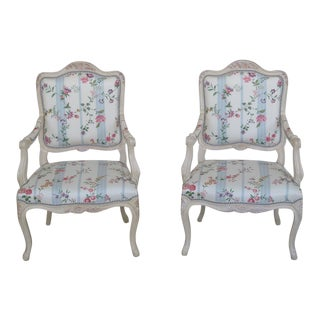 French Inspired Scalamandre Upholstered Armchairs - A Pair For Sale