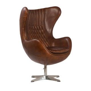 Brown Leather Quilted Wingback Chair