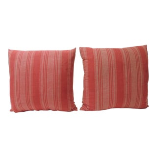 Pair of Vintage French Red Stripe Decorative Pillows For Sale
