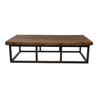 Extra Large Coffee Table of 19th C Weathered Elm on Iron Base For Sale