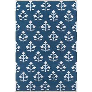 "Erin Gates Thompson Grove Navy Hand Woven Wool Area Rug 7'6"" X 9'6"" For Sale"