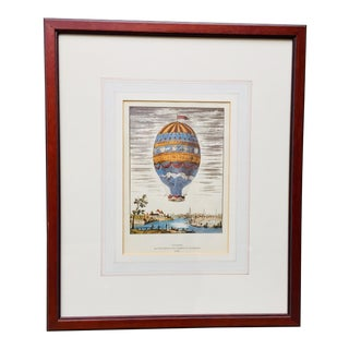French Vintage Hot Air Balloon Print of the First Aerial Ascent From the City of Strasbourg in 1784 For Sale