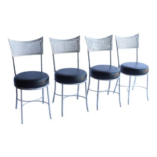 Vintage Mid Century Metal Faux Bamboo and Cane Chairs- Set of 4