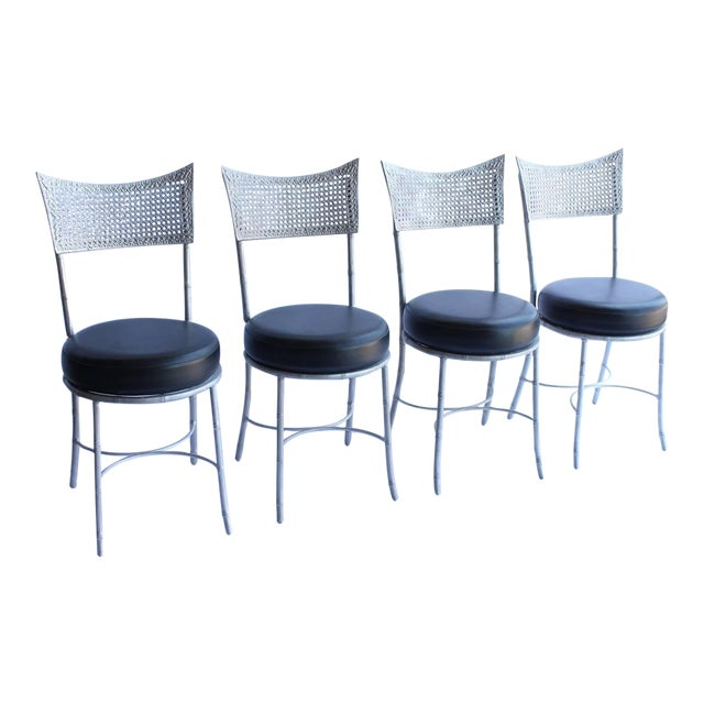 Vintage Mid Century Metal Faux Bamboo and Cane Chairs- Set of 4 For Sale